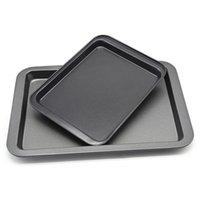 24 * 18 * 2cm Altın Siyah Gıda Kalite Paslanmaz Çelik Pişirme Kapları Diy Pişirme Araçları Dikdörtgen Yapışmaz Ekmek Pasta Pişirme Tepsi DH0642-2 T03