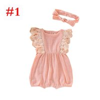 Linen Cotton Baby ruffle romper with headband INS girls lace...