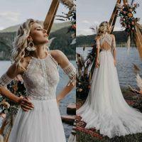 2020 últimas Beach Boho boda vestidos de encaje O-Cuello de la borla de la manga corta Vestido de Noiva elegante tul de Bohemia vestidos de boda