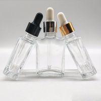 Plaza de E-líquido 30ml botellas de vidrio con vidrio transparente, con gotero de contenedores para el aceite esencial de aromaterapia y 1OZ 400Pcs porción liberan el envío