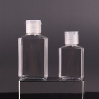 30 мл 60 мл Пустой PET пластиковая бутылка с флип-шапкой прозрачной квадратной формы бутылки для макияжа жидкости одноразовый дезинфицирующий гель