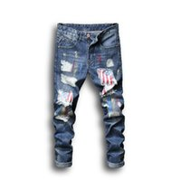 Mens Jeans Summer Fashion Style Street Wear Painted Printing Hole Patch Hot Sale Asian Size Free Shipping