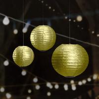 10pc 16inch Supplies oro metallico / argento lanterne di carta cinesi Partito Decori casa di cerimonia nuziale Garden Festival di compleanno sfere d'attaccatura