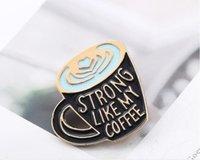 2020 새로운 브로치 커피 에나멜 핀처럼 강한 내 커피 에나멜 핀, 커피 연인 핀 브로치 가방 옷깃 핀 의류 배지 보석 선물 SHU16