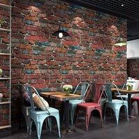 azul rojo de lujo del ladrillo con textura del papel pintado 3D Habitación Sala Decoración impermeable estéreo de vinilo PVC del papel de empapelar retro Roll3D
