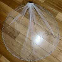 طول الكوع العاج الزفاف الأبيض الحجاب الزفاف مطرز بسيط مع مشط العروس 1T 1.5M طويلة حسب الطلب