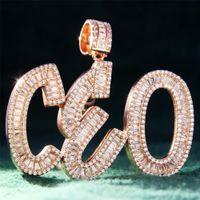 Пользовательские багет инициалы буквы имя ожерелье цепь хип-хоп ледяной Циркон DIY подарок для мамы дней друга
