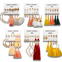 Boho tassel Stud Earrings Set New design multi pairs round l...