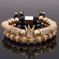 2 teile / satz Charme Luxus Gold Armband Männer Männliche Edelstahl Perlen Krone CZ Zirkon Geflochtene Weibliche Pulseira Geschenk Valentinstag Urlaub Weihnachten