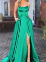 Grüne Ballkleider mit Tasche lange rückenfreie geschlitzte Abendkleider Ballkleid