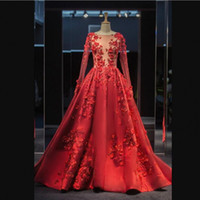 Sexy Illusion V Neck Prom Dresses Long Sleeves Lace Applique...