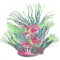 Antecedentes No tóxico anémona de mar ornamento brillando en la luz suave de silicona flexible Plant Simulation accesorios decoración del acuario