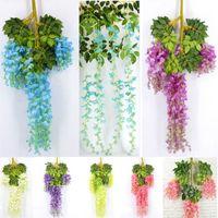 110cm Fleurs artificielles Décorations de mariage pour la bande de Wisteria Simulation longue soie usine Garden Party Fleurs Couronnes XD21511 anniversaire