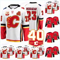 Calgary Flames 40. Jahrestag 2019-20 13 Johnny Gaudreau 3 Sean Monahan Jaromir Jagr 5 Mark Giordano 23 Sean Monahan 68 Jagr Hockey Jersey