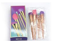 Trucco degli insiemi di spazzole cosmetici pennello 5 di colore brillante rosa spirale pennello gambo trucco strumenti trucco vite unicorno d'oro di trasporto