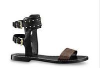2019 Populaire Été De Luxe Dames Toile style gladiateur appartements chaussures noir studs doré nomade sandale femmes Parti Sexy Fashion Ladies Chaussures