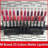 2019 Hot Matte Lipstick M Maquillaje Lustre Lipsticks Retro Frost Sexy Matte Lipsticks 3G 25 Colores Lápices labiales con nombre Inglés
