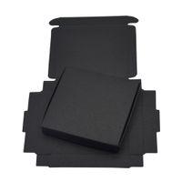 9x8.6x1.6cm Negro de cartón de papel cajas de regalo de cumpleaños de la boda favores de caramelo Crafts de envolver la caja plegable Kraft caja del paquete 50pcs / lot
