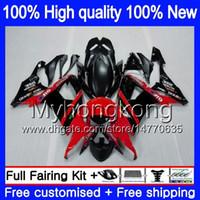 Kropp för Kawasaki ZX 10 R ZX1000C ZX-10R 2008 2009 2010 karosseri 217MY.23 ZX 10R 1000cc ZX1000 ZX10R 08 09 10 Full röd svart fairing