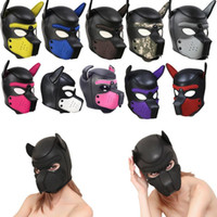 Padded Latex Rubber Role Play Dog Mask Puppy Cosplay Full He...