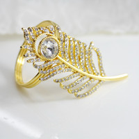gold silver feather with crystals napkin ring wedding holida...