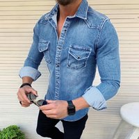 Homens Moda Cowboy shirt 2019 New homens casual manga comprida Denim Jackets Turn Down Collar Slim Fit Jeans Casacos Casaco com bolsos