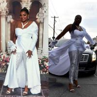 2020 새로운 흰색 점프 슈트 플러스 사이즈 댄스 파티 드레스 하나의 어깨 새틴 분리 가능한 열차 저녁 연예인 가운 레이스 스팽글