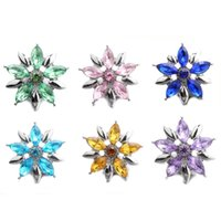 10pcs lot Snap Button Jewelry Color Rhinestone Flower Snap Buttons Fit 18mm Bracelets Bangles DIY Jewelry