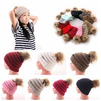 Kids Pom Pom Beanies 13 Colors Knitted Fur Poms Cable Slouch...