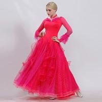 Desgaste de la etapa 8 colores Pink Ballroom Dance Vestidos Vestido Vestido Estándar Waltz Dacing Ropa