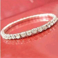Sparkle Women Prom Party Dresses Bride Wear Cheap Elastic 2019 Sliver plated Crystal Bangle Bridal Bracelets Wedding Bridal Party Jewelry
