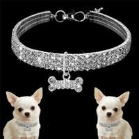 Bling Strass Perlenkette Hundehalsband Alloy Diamond Puppy Haustierhalsbänder für kleine Hunde Mascotas Hundezubehör
