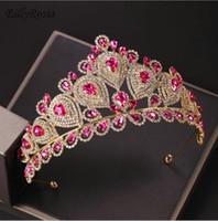 Блестящие фуксия свадебные ободки большие кристаллы стразы свадебные Корона и диадемы золото роскошные Принцесса Couronne для конкурса