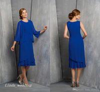 2019 Koninklijke Blauwe Moeder van de Bruid Bruidegom Jurk met Jas 2 Stuks Formele Bruiloft Avondjurk Plus Size Vestido de Madrinha