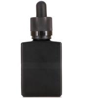 400pcs 30мл Vape E сок Пустые бутылки Черный квадрат капельница стекла плоские бутылки 30 мл Защита от детей капельница Caps Bulk Сток