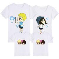 Abbigliamento per famiglie Abbigliamento in cotone Estate stampa T-Shirt Mommy e figlia Padre e figlio Vestiti Famiglia Sguardo