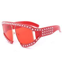 2019 النظارات الشمسية النظارات الشمسية لؤلؤة كبيرة الحجم womenVintage العلامة التجارية مصمم أزياء السيدات نظارات الشمس للإناث ظلال التدرج واضحة W17
