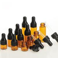 1ml 2ml 3ml 5ml Mini bouteilles en verre ambré Petit bouteille d'huile essentielle Pipette avec capuchon noir pour e liquide