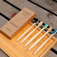 bamboo charcoal toothbrush flat handle with Kraft box travel...