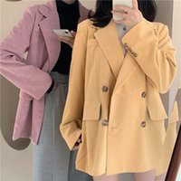 여성용 정장 블레이저스 Heydress Chic Corduroy 여성 블레이저 느슨한 더블 브레스트 슈트 자켓 코트 여성용 outwear 블레이스 여성 Femininas
