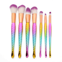 Makeup brush Rainbow Mermaid Fish Tail Makeup Brush 7 pcs Fi...