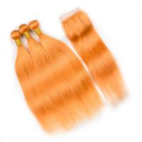 Farbige orangefarbene indische Menschenhaar-Webart-Schussfäden mit Verschluss Reines orangefarbenes seidiges gerades Menschenhaar 3 Bundles mit Verschluss mit Spitzenvorderseite 4x4
