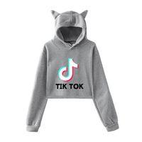 Tik Tok Note Carta Impressão Hoodies Loose Grande Gato Orelhas com Caps Umbilical Sweater Mulheres 2XL