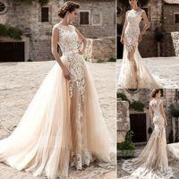 Real Image 2019 Fairy Jewel Peart Wedding платья сексуальная русалка кружева Tulle Applients Смотреть, хотя пляж свадебное платье на заказ