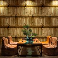 epoca stile cinese 3d stereoscopico di bambù tessere a muro per TV tè di carta d'epoca ristorante interno bar ristorante giapponese classica carta da parati
