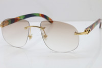 ingrosso di fascia alta Occhiali Decor Peacock Wood frame T8100928 design senza montatura degli occhiali da sole di legno moda occhiali suglasses di alta qualità