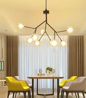 I rami di albero moderni hanno condotto i lampadari a sospensione a sospensione di vetro che illuminano la lampada a sospensione G4 bianca calda di colore bianco freddo trasporto libero 100% fatto a mano