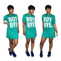 Sommer-Frauen-T-Shirt-Kleid Normallack losen Minirock Luxus Boy Bye Letters Druck O-Ansatz Kleider Sport kurzärmeliges Kleid D6906