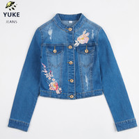 YUKE New Style Girl Denim Jacket Girl Embroidered Hole Denim...