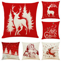 Xmas Silhouette Linen Cushion Covers Home Office Sofa Square...